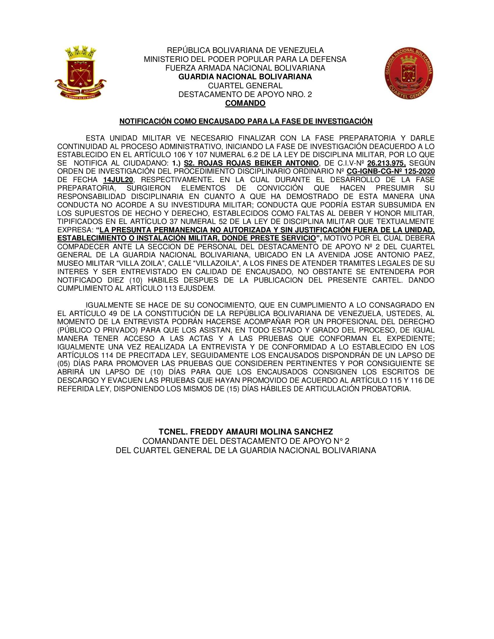 CARTEL DE NOTIFICACION DAN-2 S2. ROJAS ROJAS BEIKER
