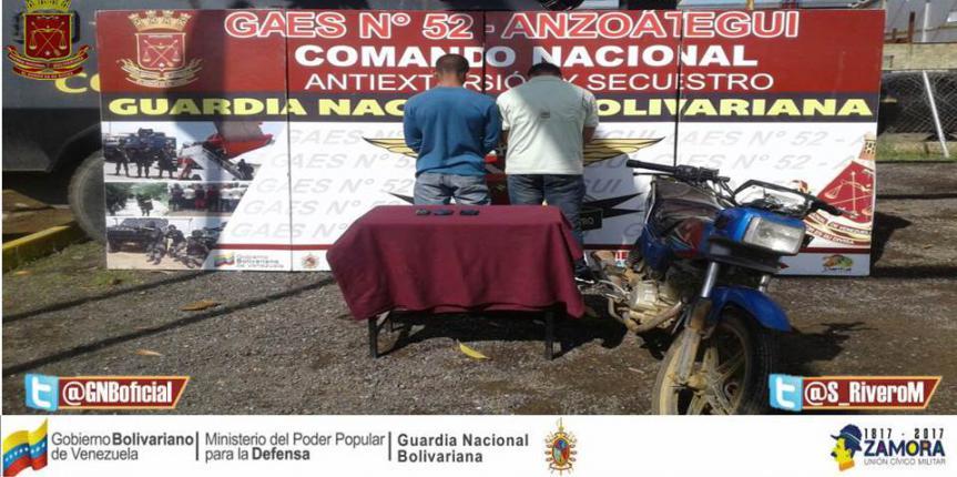 GAES Anzoátegui capturó a dos personas extorsión y robo