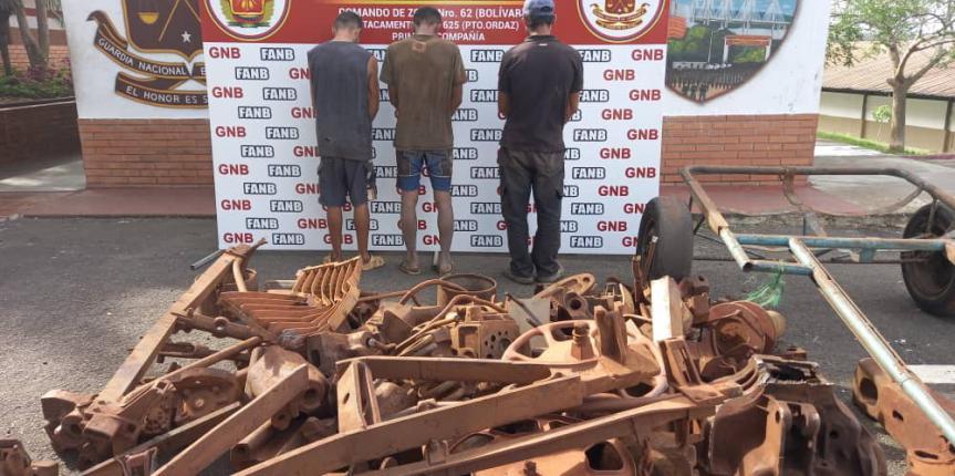 Por robo de material estratégico GNB capturó a tres sujetos en el estado Bolívar