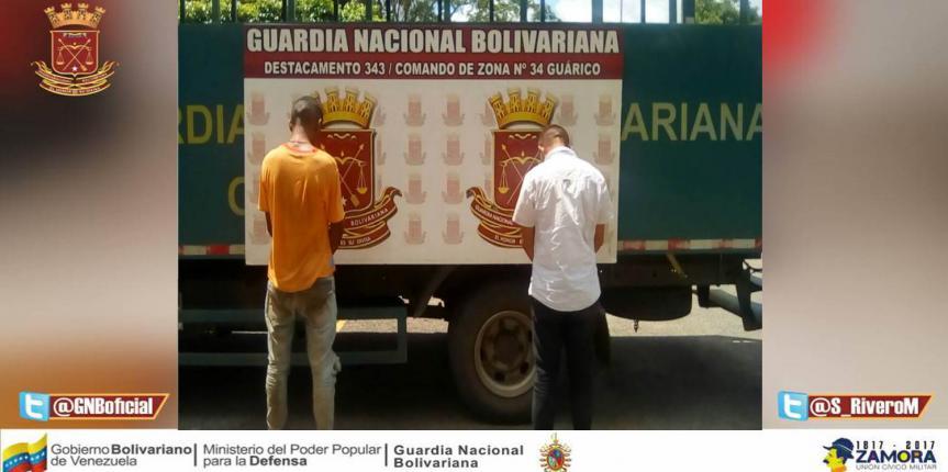 Capturados dos ciudadanos por detonar granada contra GNB