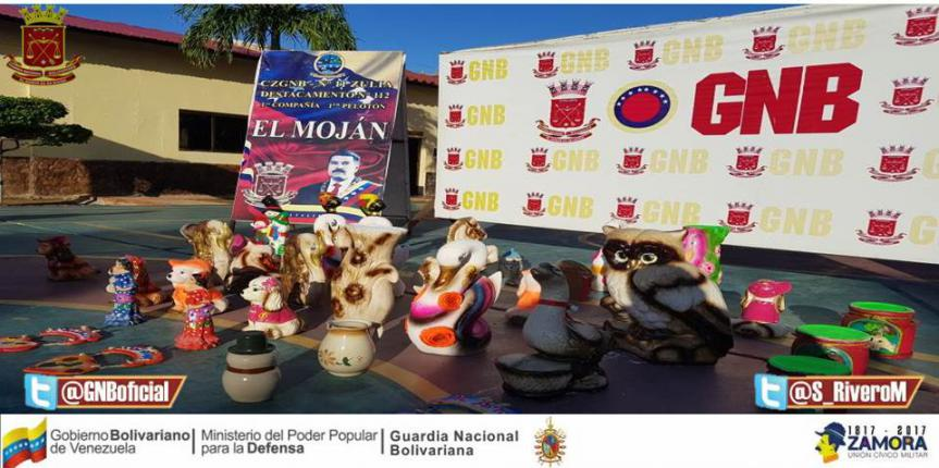 GNB Zulia capturó a tres ciudadanos que llevaban cobre en piezas de cerámica doméstica