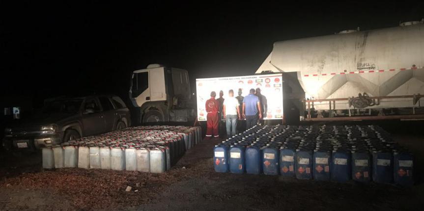 GNB Zulia retuvo  7 mil 875 litros de presunto Ácido Sulfúrico oculto en un vehículo para transporte de cemento a granel