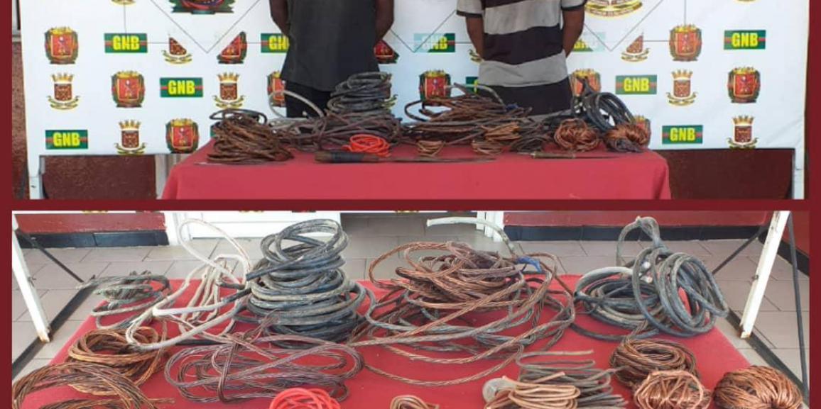 GNB capturó a dos ciudadanos por hurto de material estratégico en Coro estado Falcón
