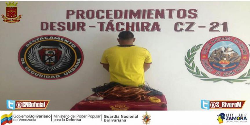 Capturado ciudadano que se dedicaba a robar cable en Táchira