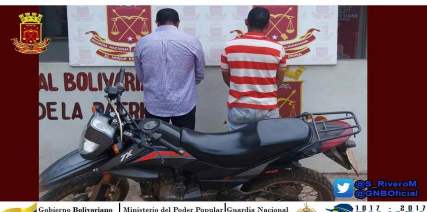 GNB Guárico capturó a dos ciudadanos circulando con moto robada