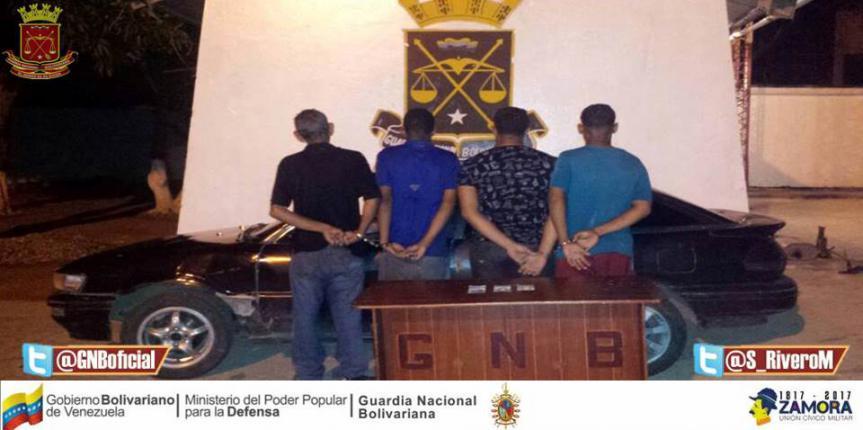 GNB Sucre capturó a cuatro ciudadanos por robo y agresión física