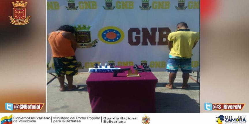 Dos ciudadanos detenidos en flagrancia por la GNB en Falcón