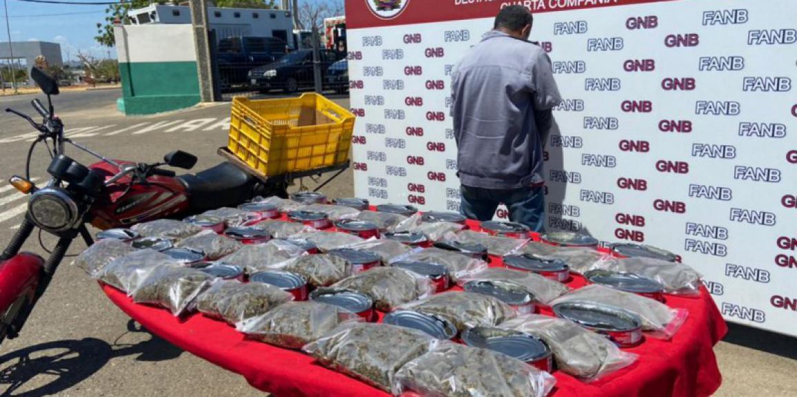 Droga enlatada fue incautada por la GNB Zulia en el Puente Rafael Urdaneta