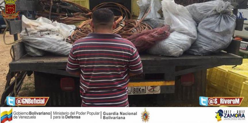 GNB Guárico  lo atrapó con contrabando de 900 kilos de cobre