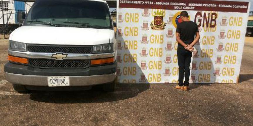GNB captura a un joven con 100 kg de cables hurtados y a dos con vehículos robados