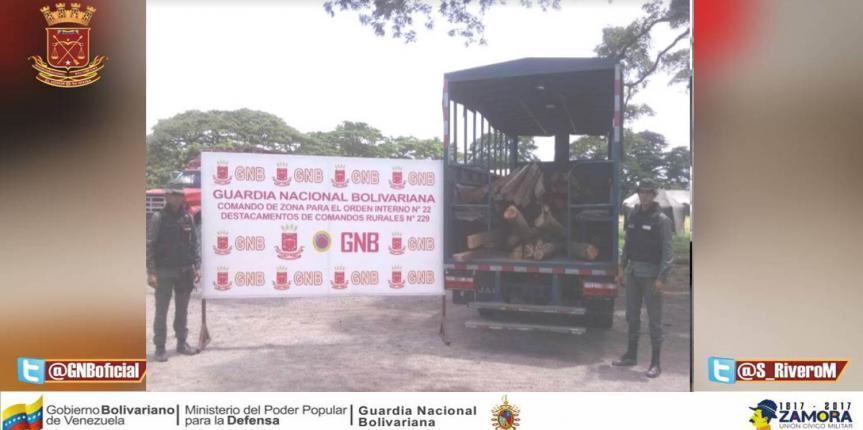 GNB retuvo 92 estantillos de madera en el estado Mérida