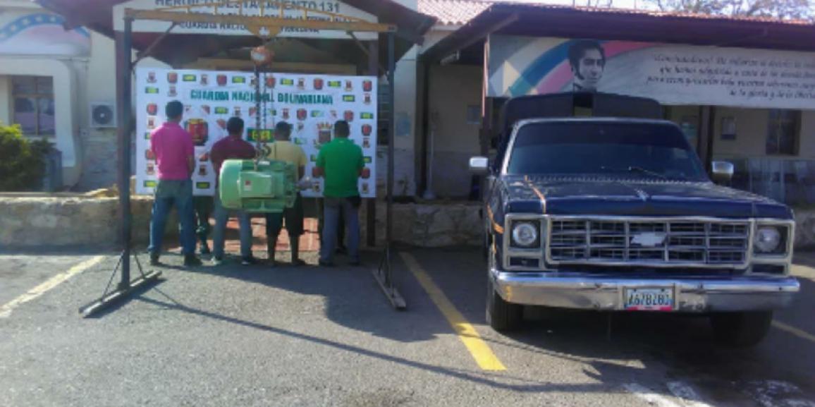 GNB detiene a cuatro ciudadanos y recupera un motor eléctrico en Paraguaná  estado Falcón