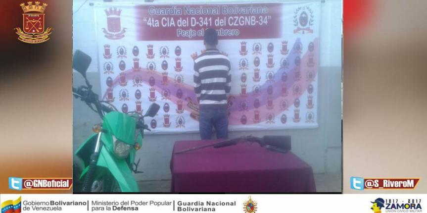 GNB capturo a ciudadano e incautó escopeta