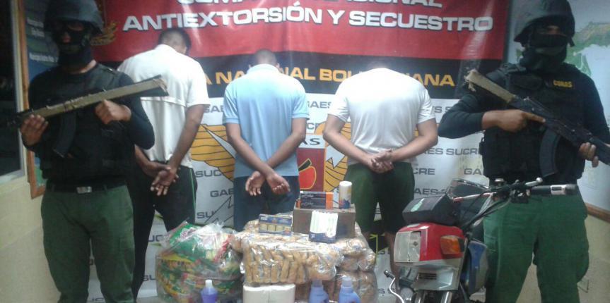 CONAS captura a tres ciudadanos por actuaciones delictivas en el estado Sucre