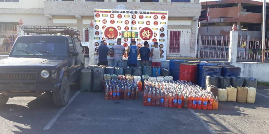 GNB capturó a 5 ciudadanos por contrabando de combustible en el estado Bolívar