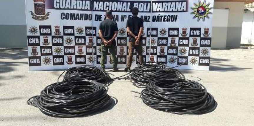GNB del estado Anzoátegui logró recuperar más de 600 metros de conductores eléctricos