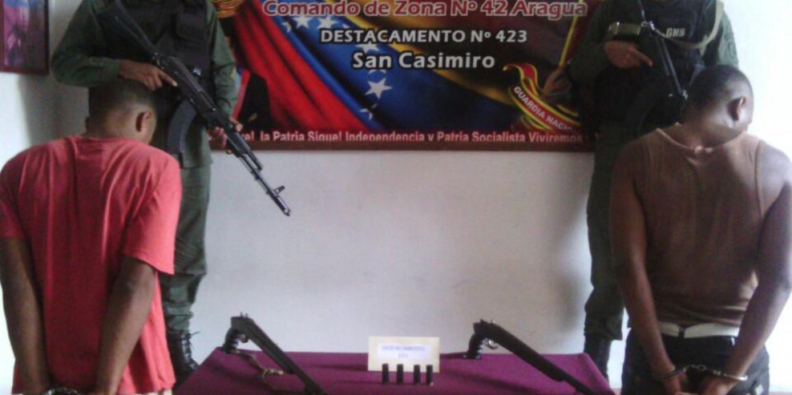 GNB Aragua detuvo a dos ciudadanos por porte ilícito de arma de fuego
