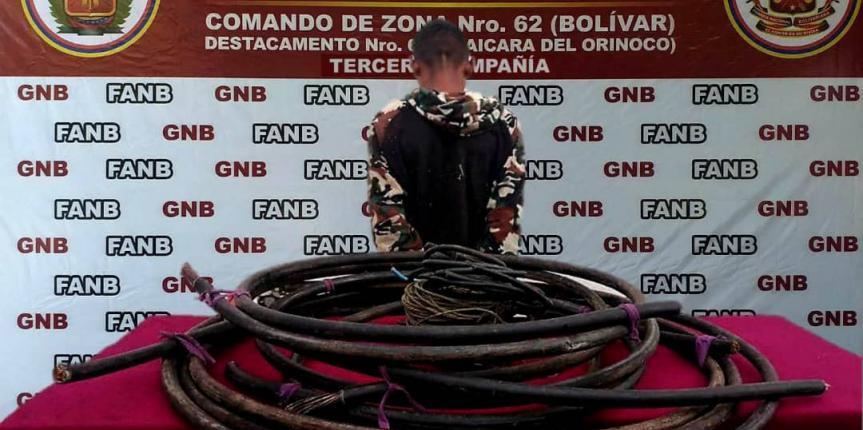 GNB capturó a ciudadano por hurto de material estratégico en Bolívar
