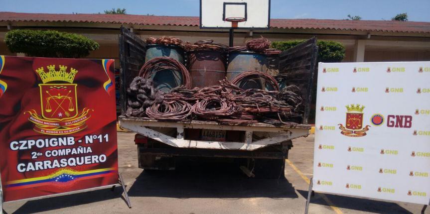 GNB Zulia incauta más de 3 toneladas de cobre de contrabando