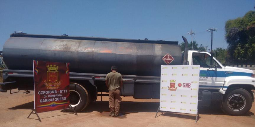 GNB Zulia detuvo a ciudadano con cisterna de contrabando en Carrasquero