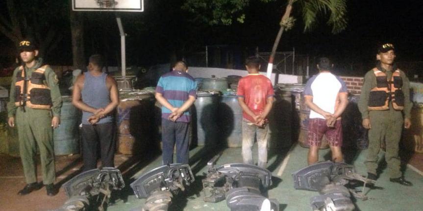 Comando de Vigilancia Costera detiene a 4 ciudadanos con más de 15.330 litros de combustible en el estado Bolívar