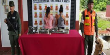 GNB aprehende a dos  ciudadanas e incauta 4 panelas de presunta cocaína