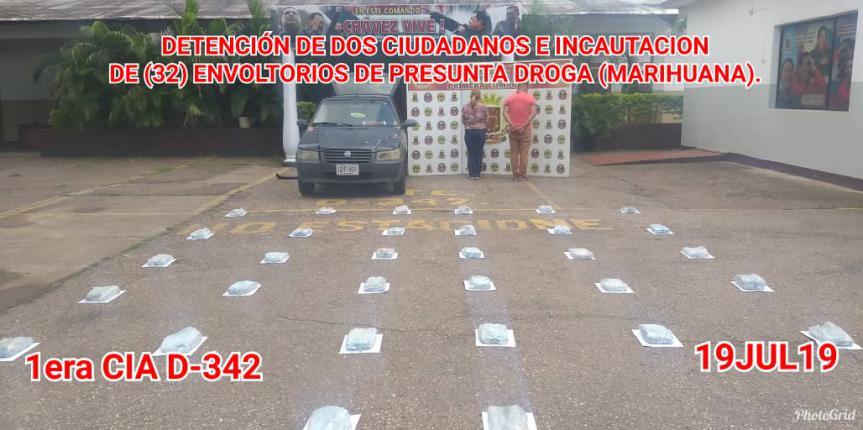 GNB Guárico capturó a dos ciudadanos e incautó 32 envoltorios tipo panela de presunta marihuana