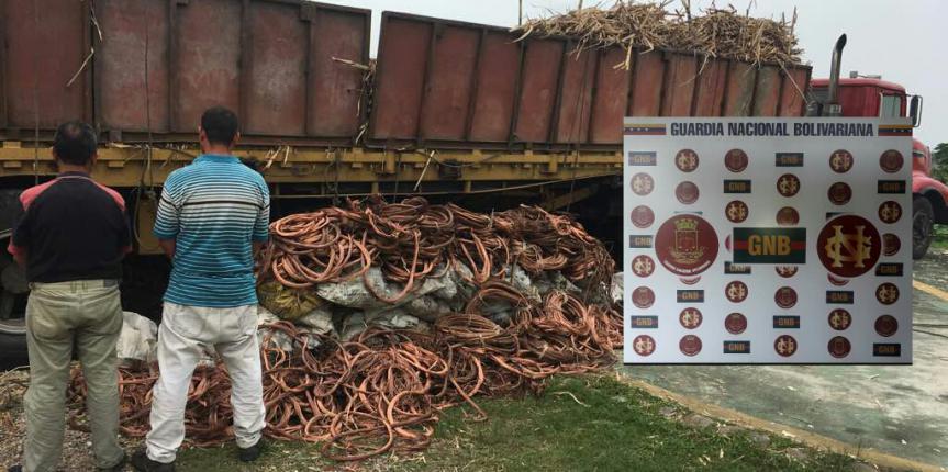 Retenidas cuatro toneladas de guayas de cobre en La Pedrera