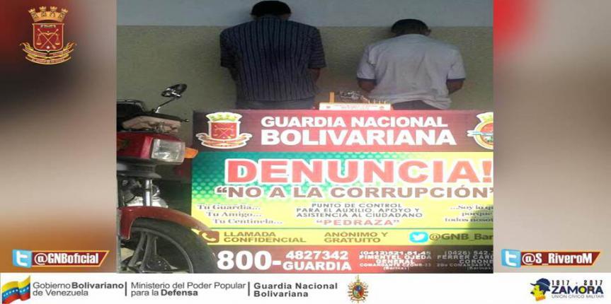 GNB desmanteló banda dedicada al robo y hurto en el estado Barinas