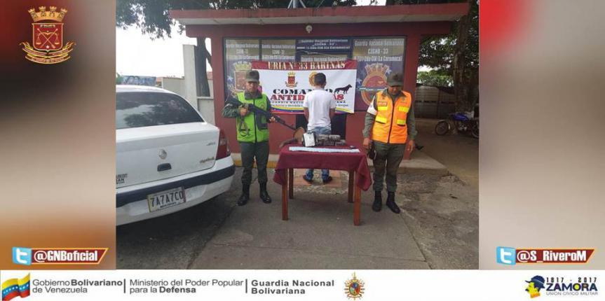GNB Barinas capturó a un ciudadano  e incautó  6 panelas de cocaína