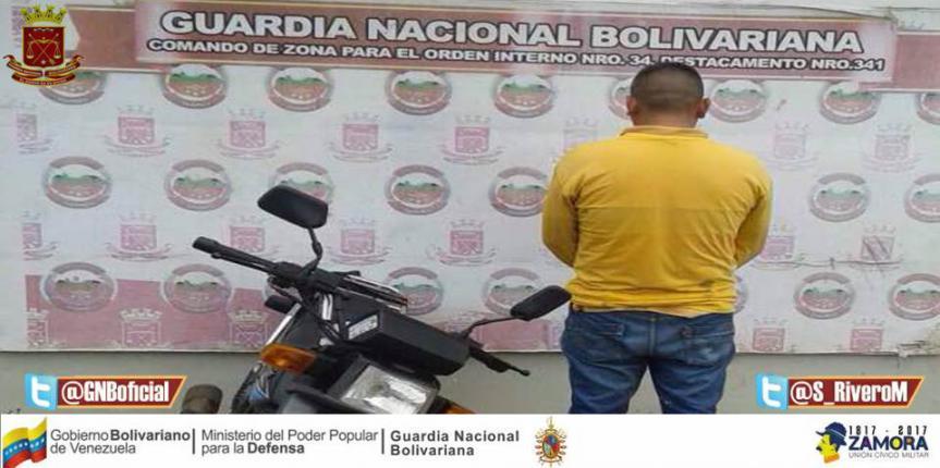 Capturado ciudadano con moto solicitada en Guárico
