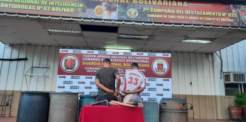 GNB captura a dos sujetos por hurto de 1.320 litros de  gasoil en Planta de PDVSA en el estado Bolívar