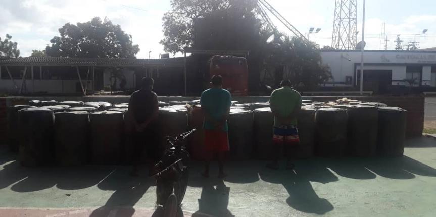 Comando de Vigilancia Costera desmanteló banda de contrabandistas de combustible en el estado Bolívar