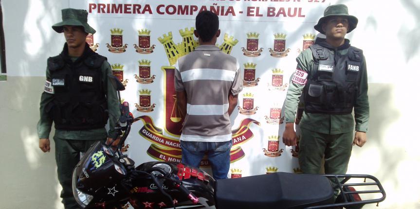 GNB frustró robo de motocicleta en el estado Cojedes
