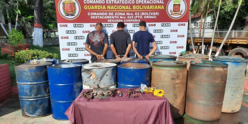 Con 2.640 litros de gasoil, GNB desarticuló grupo delictivo dedicado al hurto de combustible en Bolívar