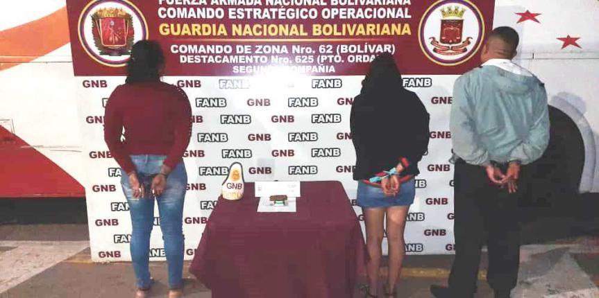 GNB capturó a tres ciudadanos con droga en el estado Bolívar