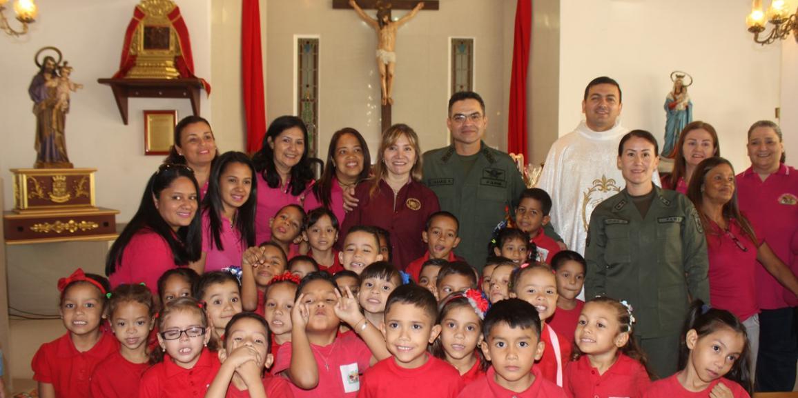 """Niñas y Niños del preescolar """"Lina de Cárdenas"""" de la GNB realizaron Misa de Acción de Gracias"""