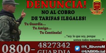 DENUNCIA  NO al cobro de tarifas ilegales! somos Tu Guardia…Tu amigo, Tu centinela
