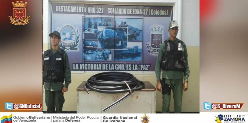 GNB desmanteló banda dedicada al robo del cableado
