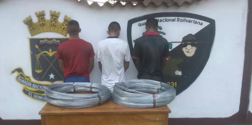 GNB Barinas capturó a tres ciudadanos dedicados al robo