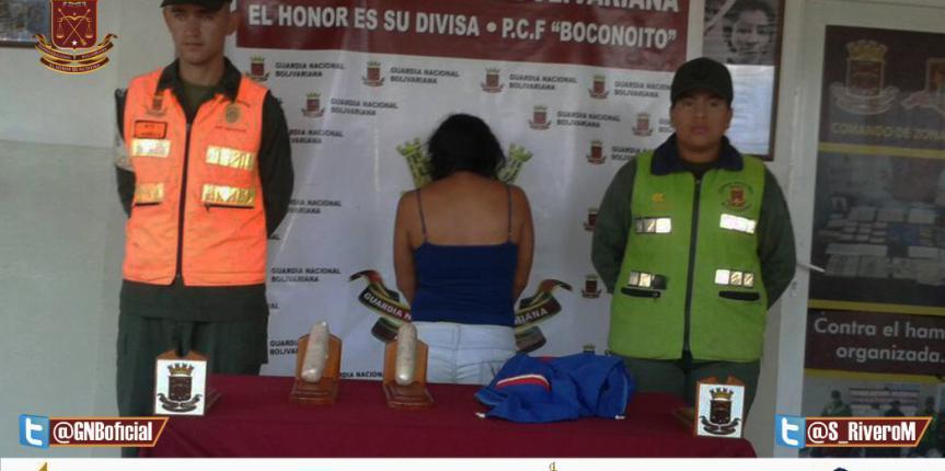 GNB Portuguesa capturó a una ciudadana con dos envoltorios de Cocaína