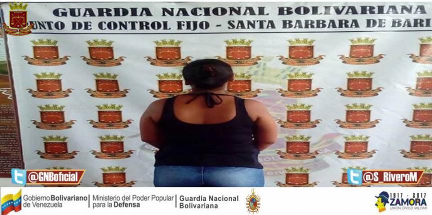 GNB Barinas detuvo a ciudadana por el delito de tránsito y permanencia ilegal dentro del territorio Nacional