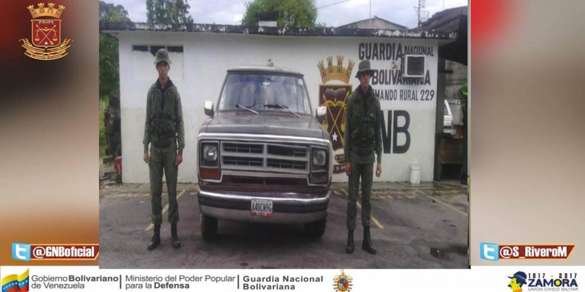 GNB retuvo camioneta con serial de carrocería suplantados y eliminados