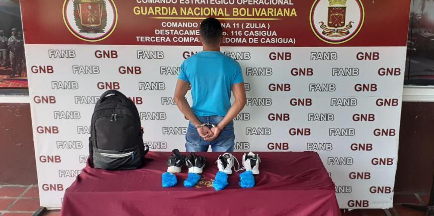GNB Zulia detuvo a ciudadano con 4 envoltorios de cocaína ocultas en las suelas de los zapatos