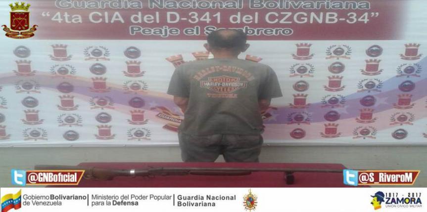 Capturado a ciudadano portando escopeta en Guárico