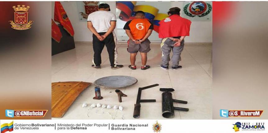 Capturados 3 terroristas tras incautarles morteros y artefactos explosivos en San Cristóbal