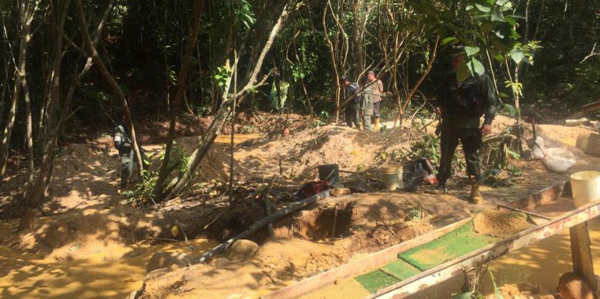 GNB Táchira desmanteló campamento minero en La Fría