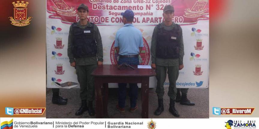 GNB detuvo a ciudadano con arma de fuego en Apartadero estado Cojedes