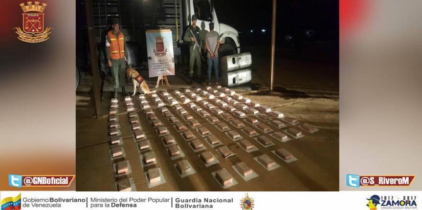 GNB Falcón da duro golpe al Narcotráfico incautando 104 panelas de Cocaína