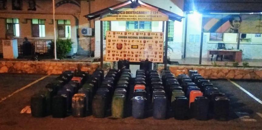 GNB incauta cinco mil 200 litros de gasolina en Paraguaná